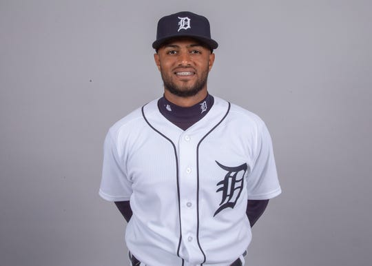 Detroit Tigers shortstop Willi Castro (49) poses for a headshot on media day at Joker Marchant Stadium.