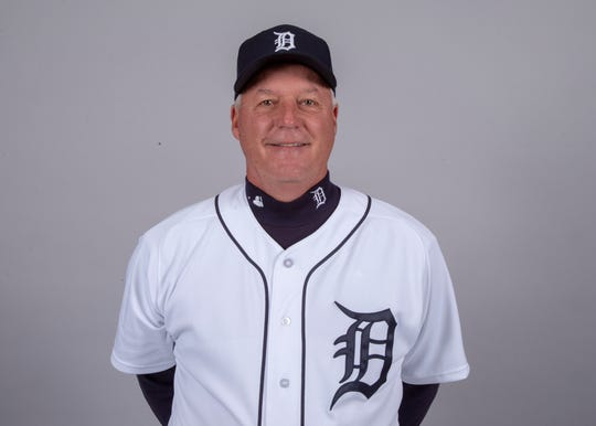 Detroit Tigers pitching coach Rick Anderson (4) poses for a headshot on media day at Joker Marchant Stadium.
