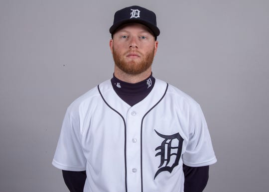 Detroit Tigers right fielder Dustin Peterson (13) poses for a headshot on media day at Joker Marchant Stadium.