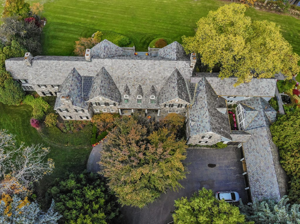 This 10,000 square foot home in Bloomfield Hills was built for former Defense Secretary Charles Wilson. Built to withstand a bomb threat, it has steel beams throughout, concrete floors on all levels and three inch thick walls of plaster, brick and stone.