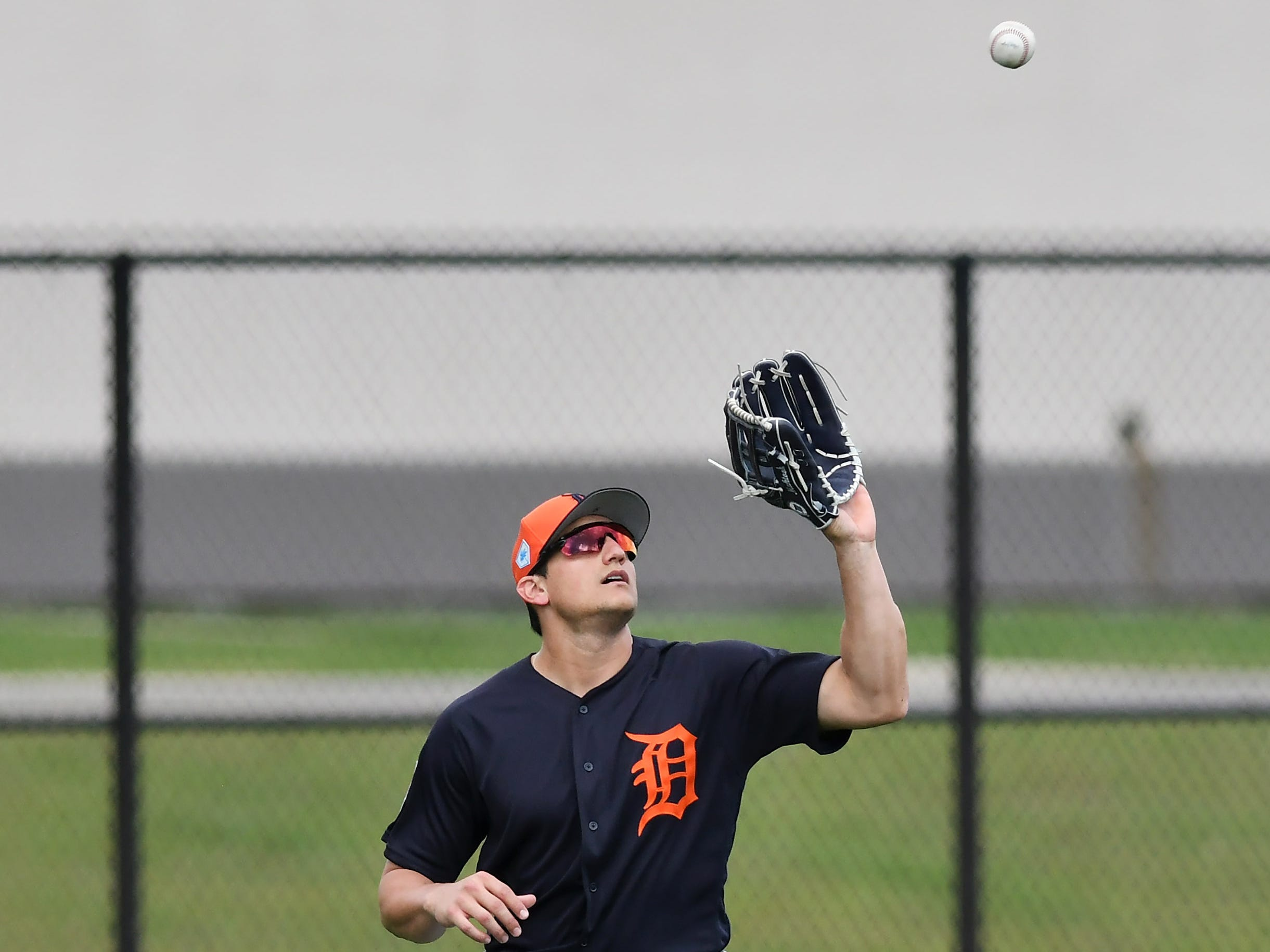 Tigers outfielder Mikie Mahtook makes a catch.