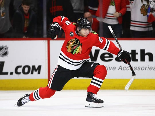 Patrick Kane of the Chicago Blackhawks scores in the third period against the Detroit Red Wings on Feb. 10.
