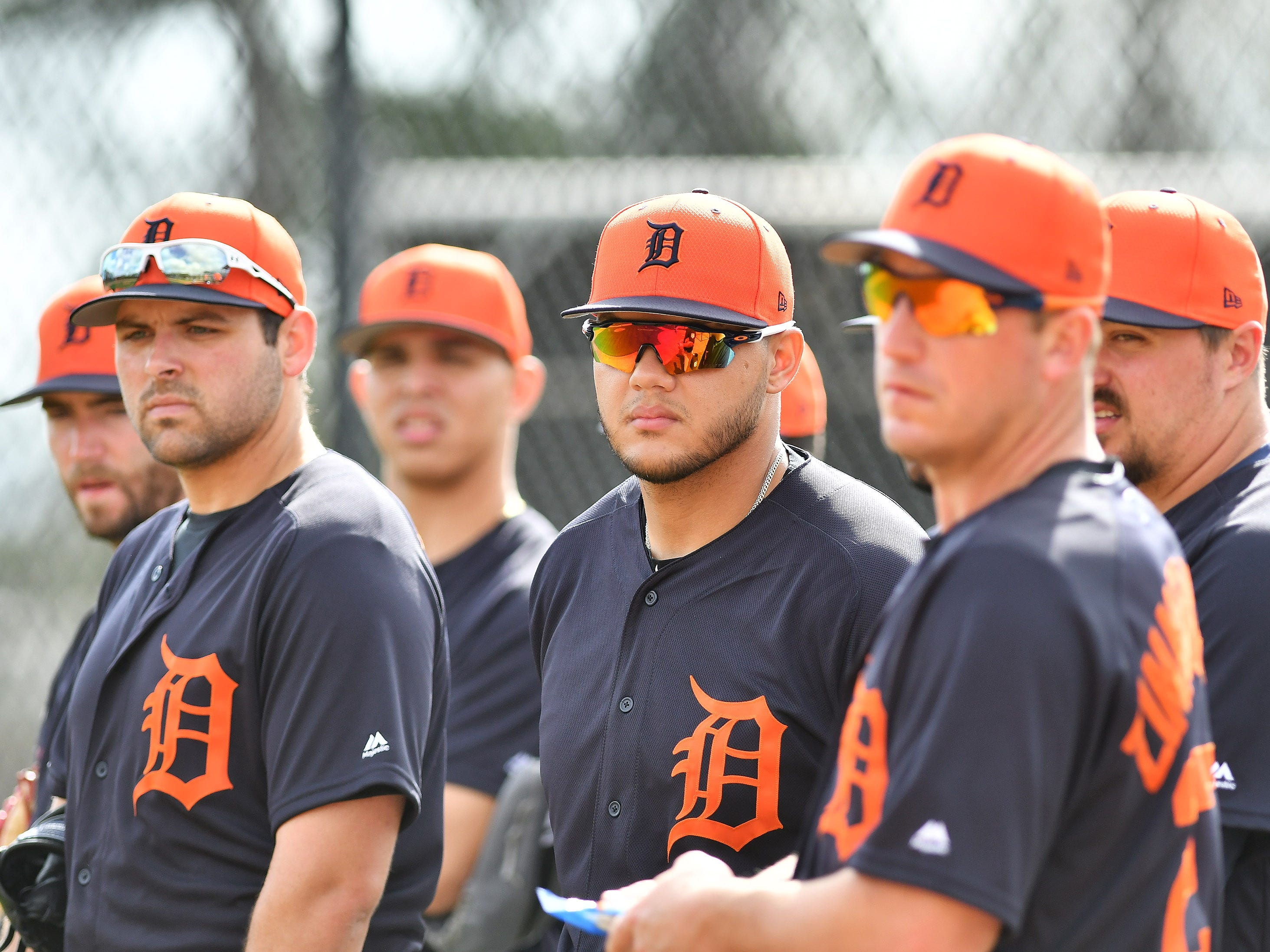 From left, Tigers pitchers Michael Fulmer, Franklin Perez, Joe Jimenez, Jordan Zimmermann and Blaine Hardy watches pitchers infield practice.
