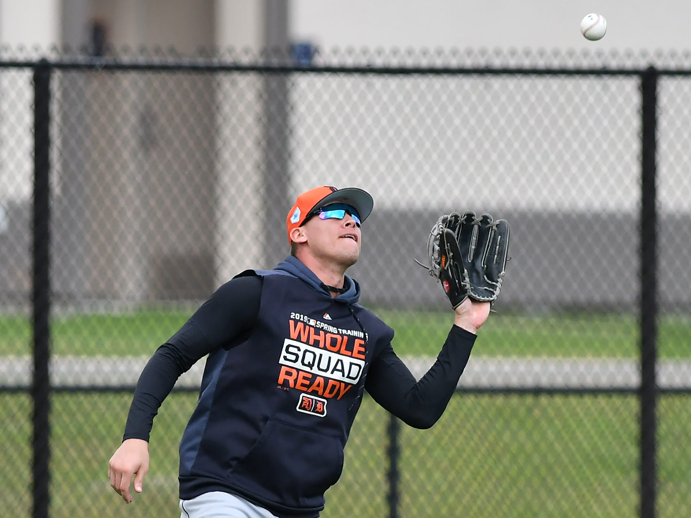 Tigers outfielder JaCoby Jones makes a catch during outfield drills.