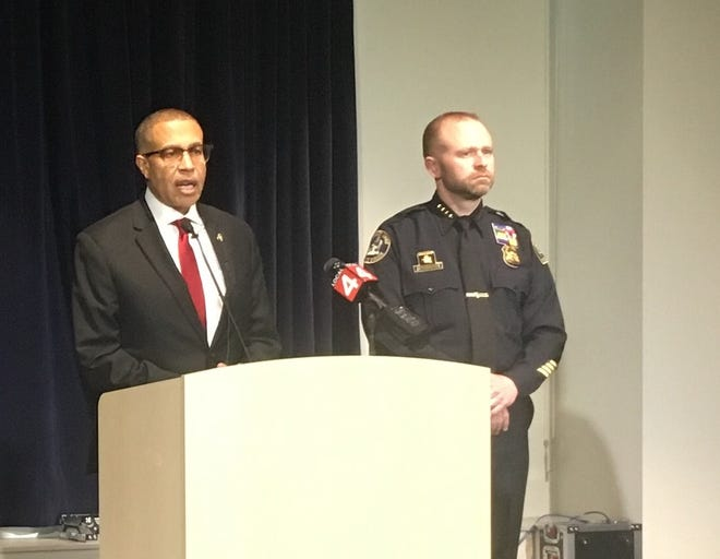 Detroit police chief James Craig and assistant chief David LeValley discuss the department's Headquarters Surveillance Unit, which was awarded a citation