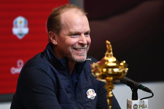Steve Stricker speaks with the media as he is named United States Ryder Cup Captain for 2020 during a press conference Wednesday.