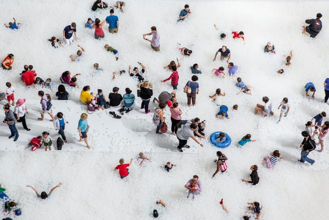 The Beach Detroit is an interactive art installation from New York-based design studio Snarkitecture.