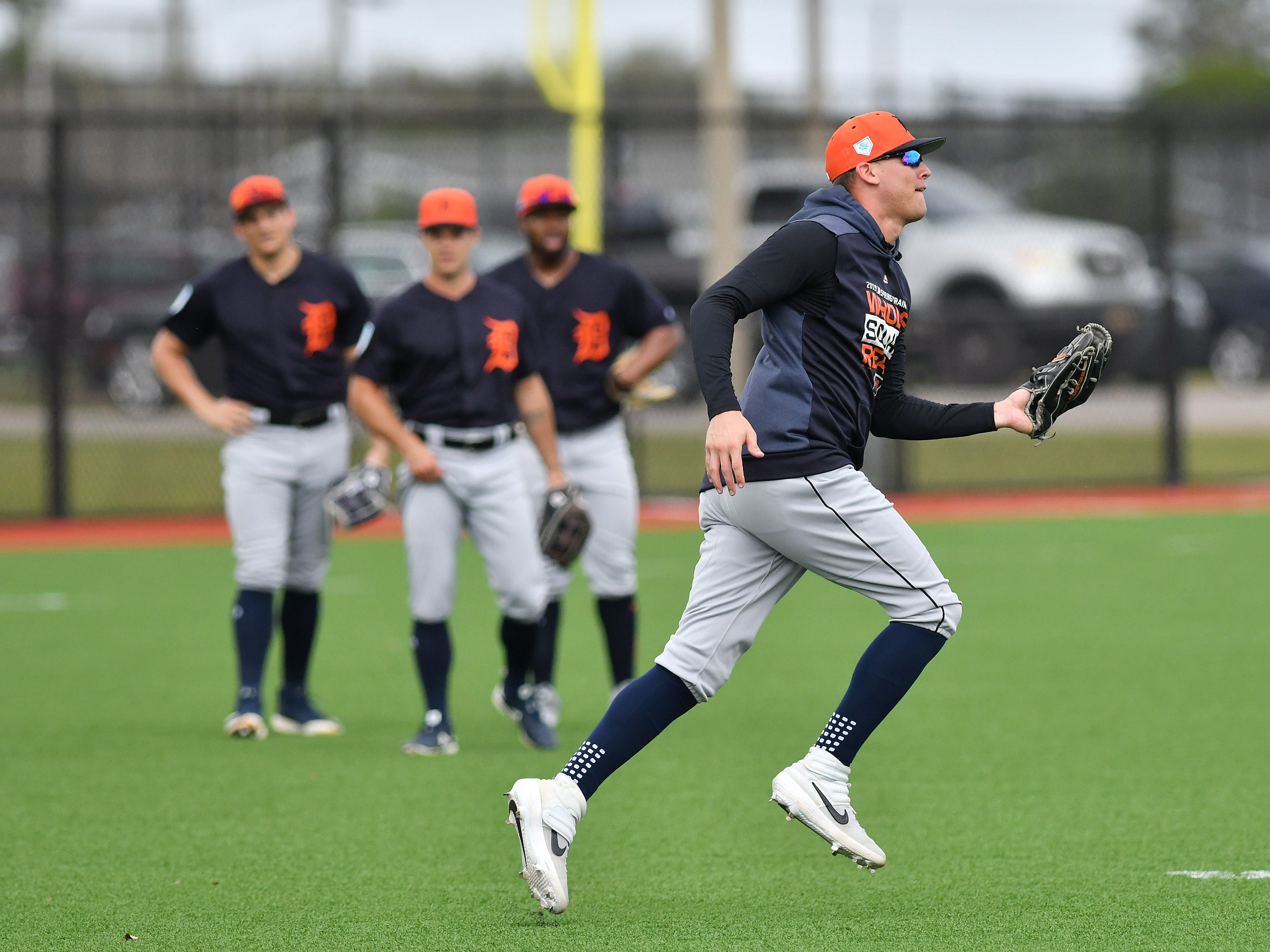 Tigers outfielder JaCoby Jones after making a running catch during outfield drills.