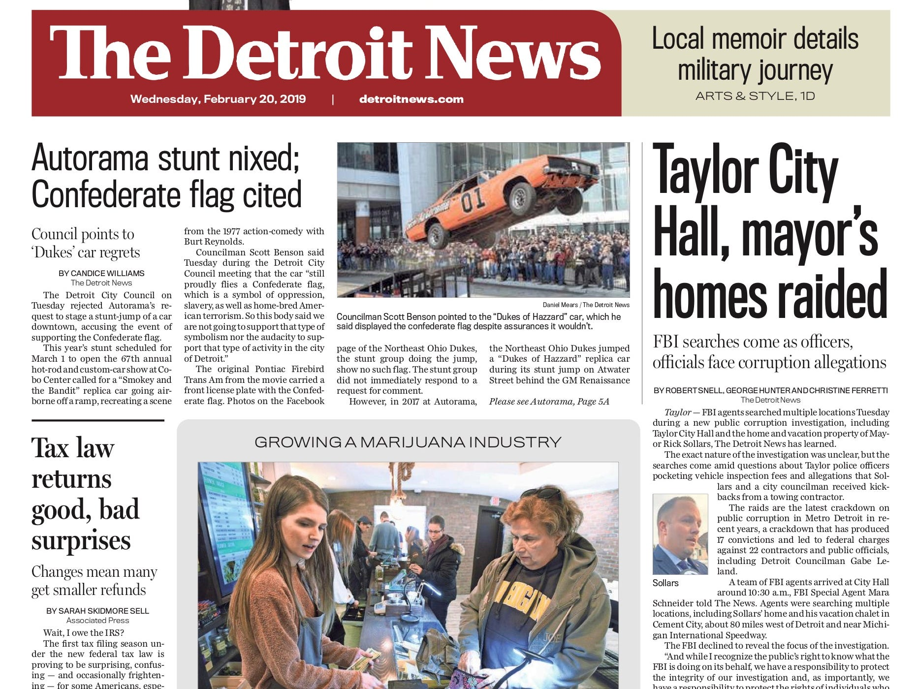 The front page of the Detroit News on February 20, 2019