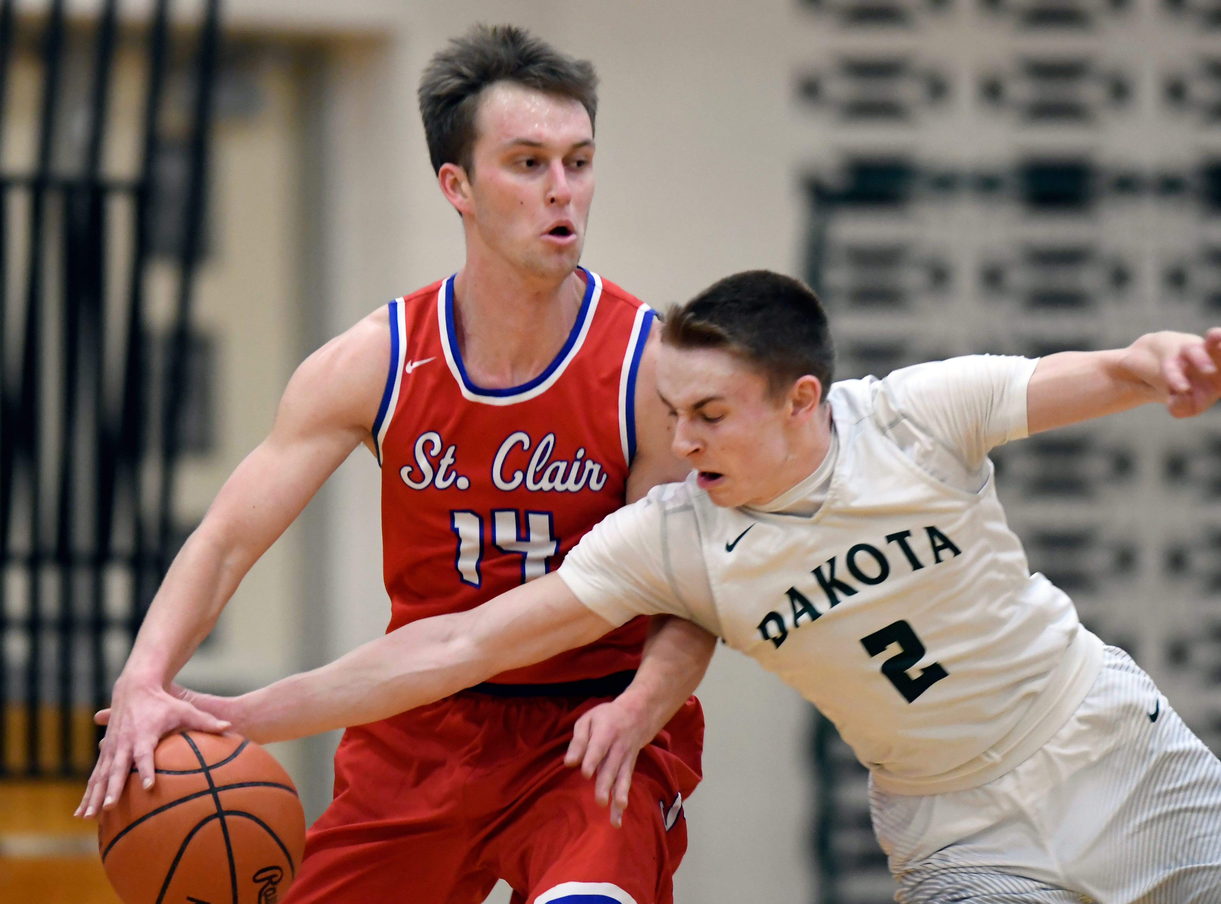 Macomb Dakota guard Mark Tocco steals the ball away from St Clair's Scott Selleck during the third quarter.