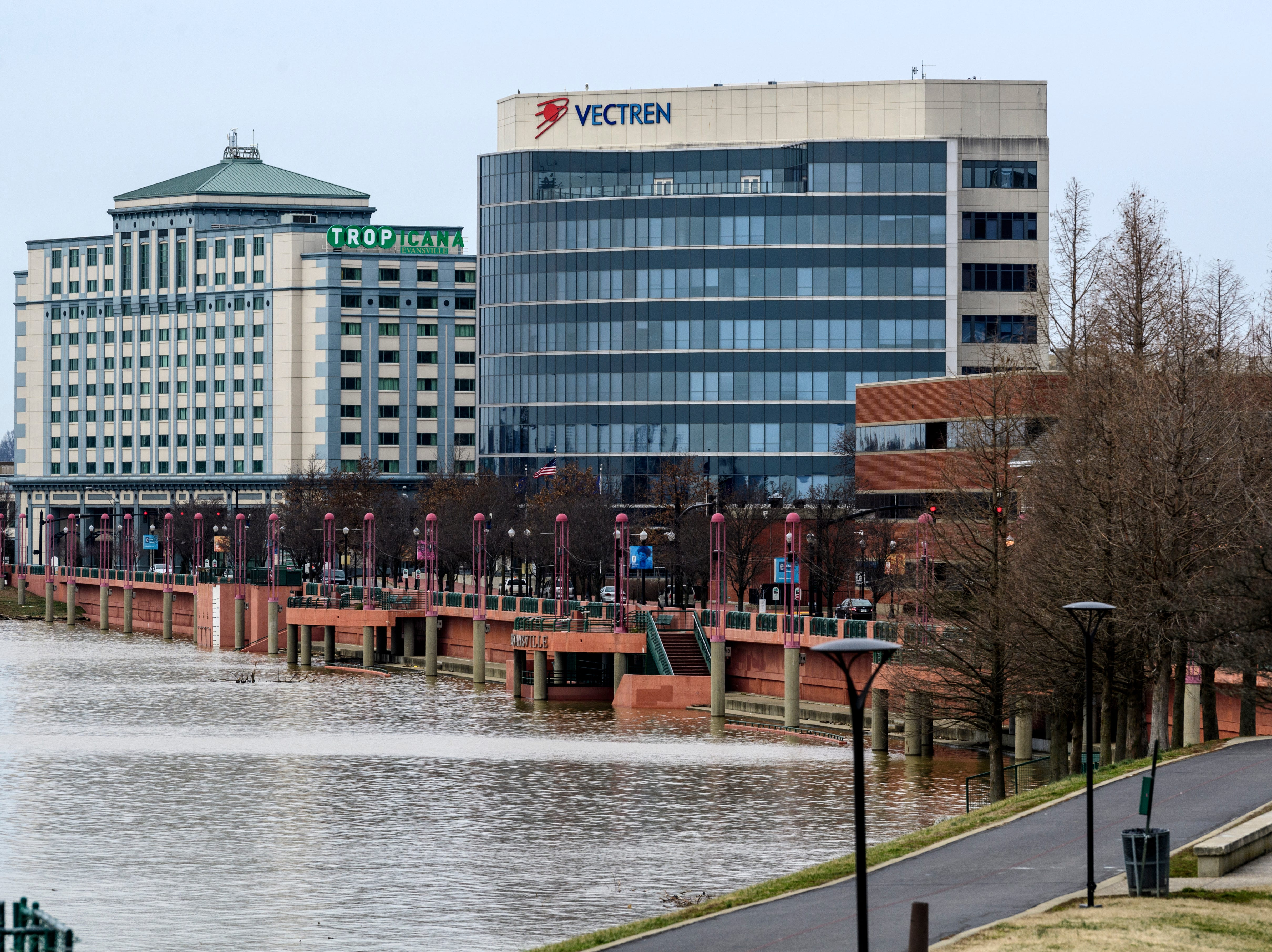 High water covers Dress Plaza along the Ohio Riverfront in downtown Evansville, Ind., Tuesday, Feb. 19, 2019.