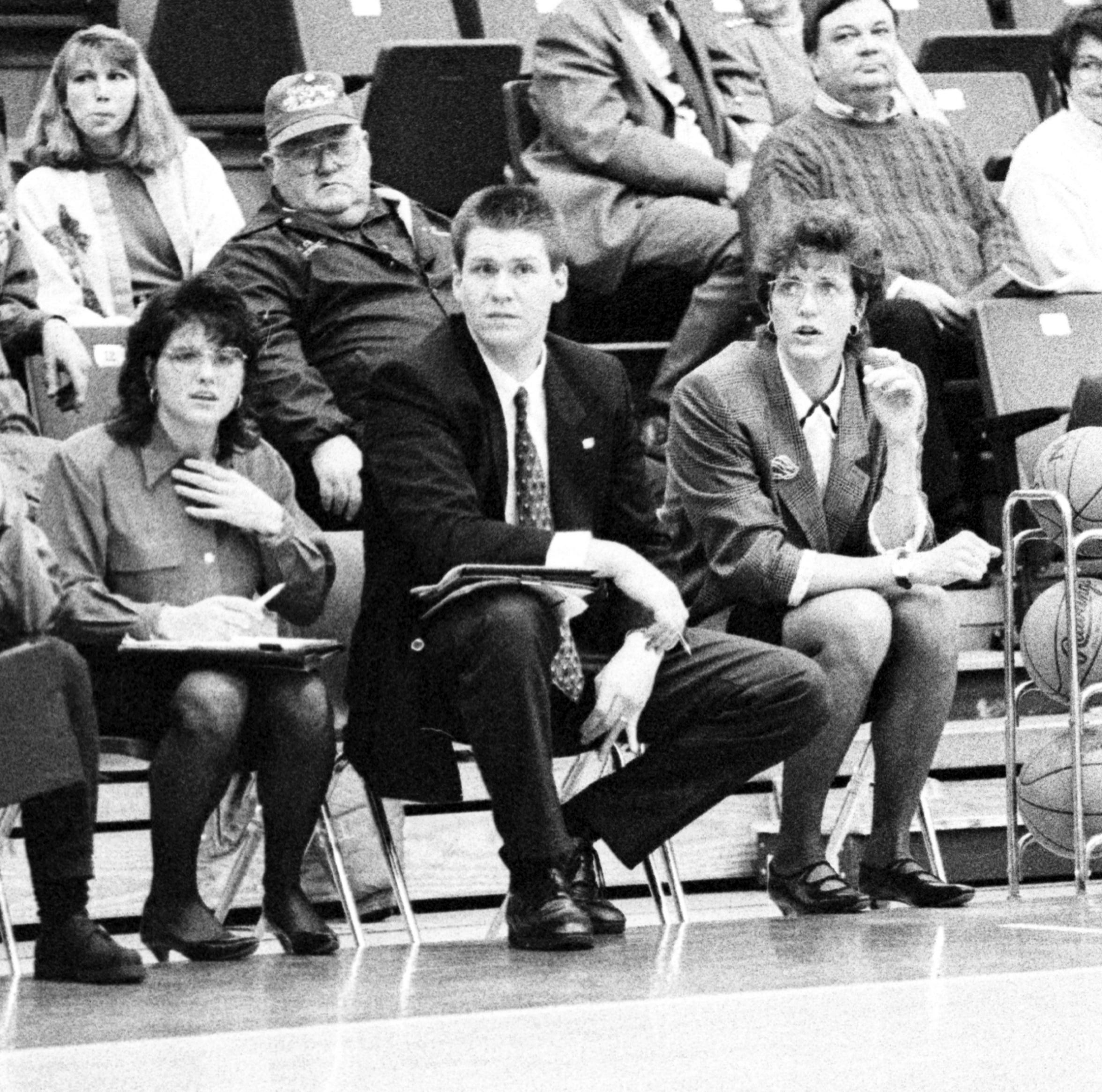 The USI women's program excelled in the 1990s under coach Cance Dugan (far right). Rick Stein, middle, took over the team when Dugan left to coach Division I Florida Atlantic.