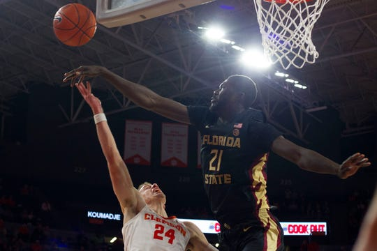 Christ Koumadje helped Florida State pickup a 77-64 victory over Clemson on Tuesday night at Littlejohn Coliseum.