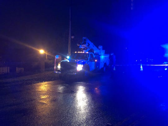 A Duke Energy truck arrived to the scene around 9:30 p.m. Tuesday, Feb, 19, 2019, to begin restoring power around the area.