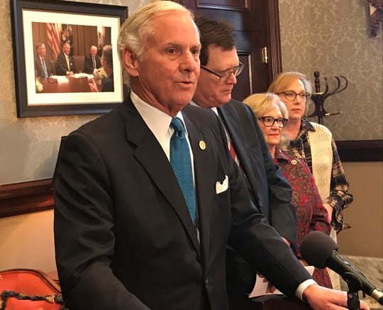 Gov. Henry McMaster, left, talks about education reform efforts while state House Speaker Jay Lucas, state Rep. Rita Allison and state Rep. Raye Felder, far right, listen during a news conference Wednesday.