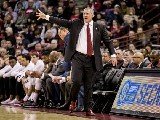 South Carolina head coach Frank Martin and the Gamecocks improved to 9-4 in the SEC with their win over Ole Miss Tuesday night in Columbia.