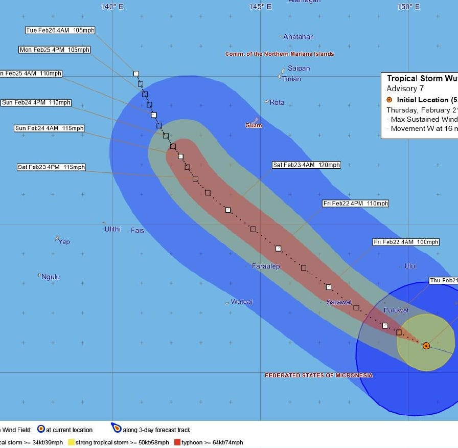 Guam in COR 3: Tropical Storm Wutip nears typhoon strength, see the track here