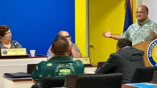 Education Superintendent Jon Fernandez on Wednesday morning updates mayors about school grass cutting and grounds maintenance, the opening of typhoon shelters, and partnerships to improve campus safety in different villages.