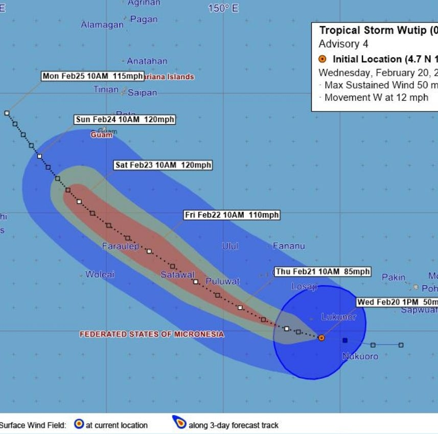Tropical storm Wutip could become typhoon Thursday