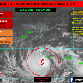 Guam in COR 3: Tropical Storm Wutip nears typhoon strength, see the track