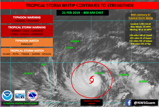 Wutip is expected to pass south of Guam Saturday night