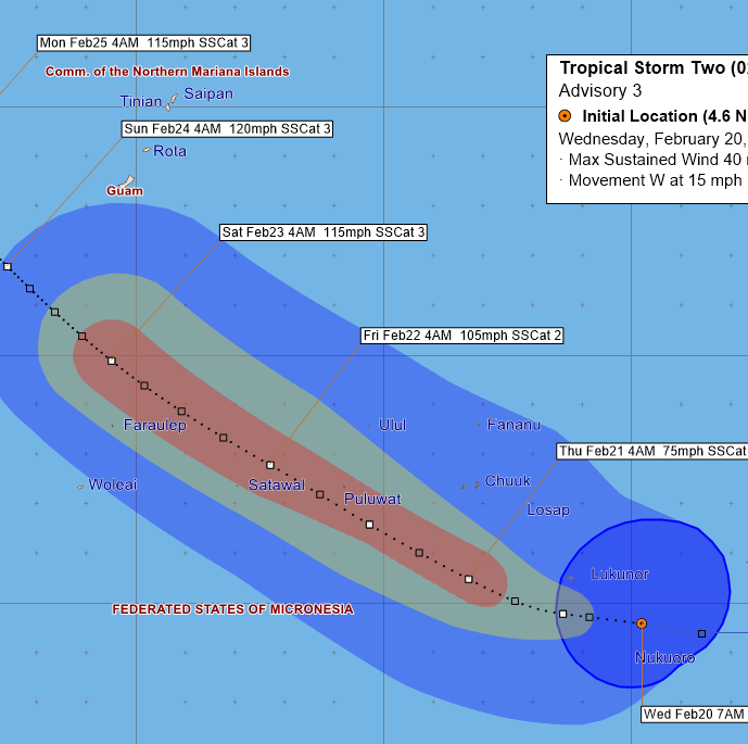 The latest: Wutip expected to pass south of Guam on Sunday