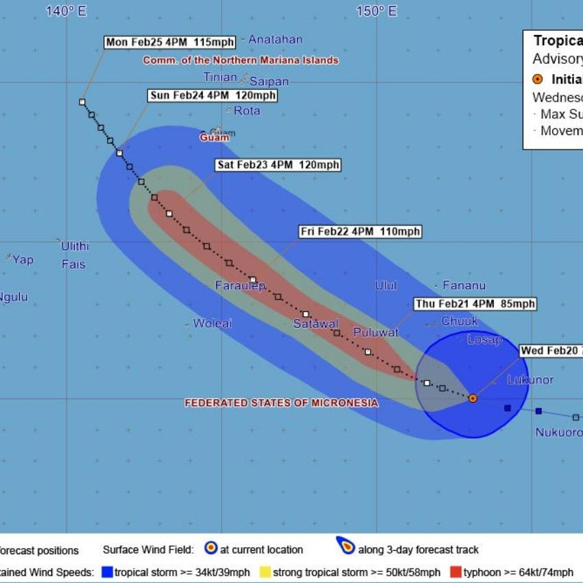 The latest on Wutip: 815 miles away, 55 mph winds, heading  west at 12 mph