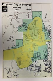 The new proposed boundaries of Bellevue are overlayed in yellow over the original boundaries in green.
