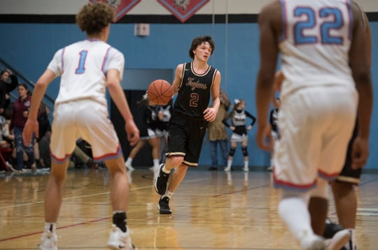 Webster County's Tyler Camplin (2) dribbles the ball during the Union County vs Webster County game at the Dr. Doug Hines Gymnasium in Morganfield, Ky. Tuesday, Feb. 19, 2019.