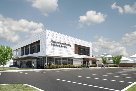 Full-color rendering of the Henderson County Public Library facility expansion and renovation project.