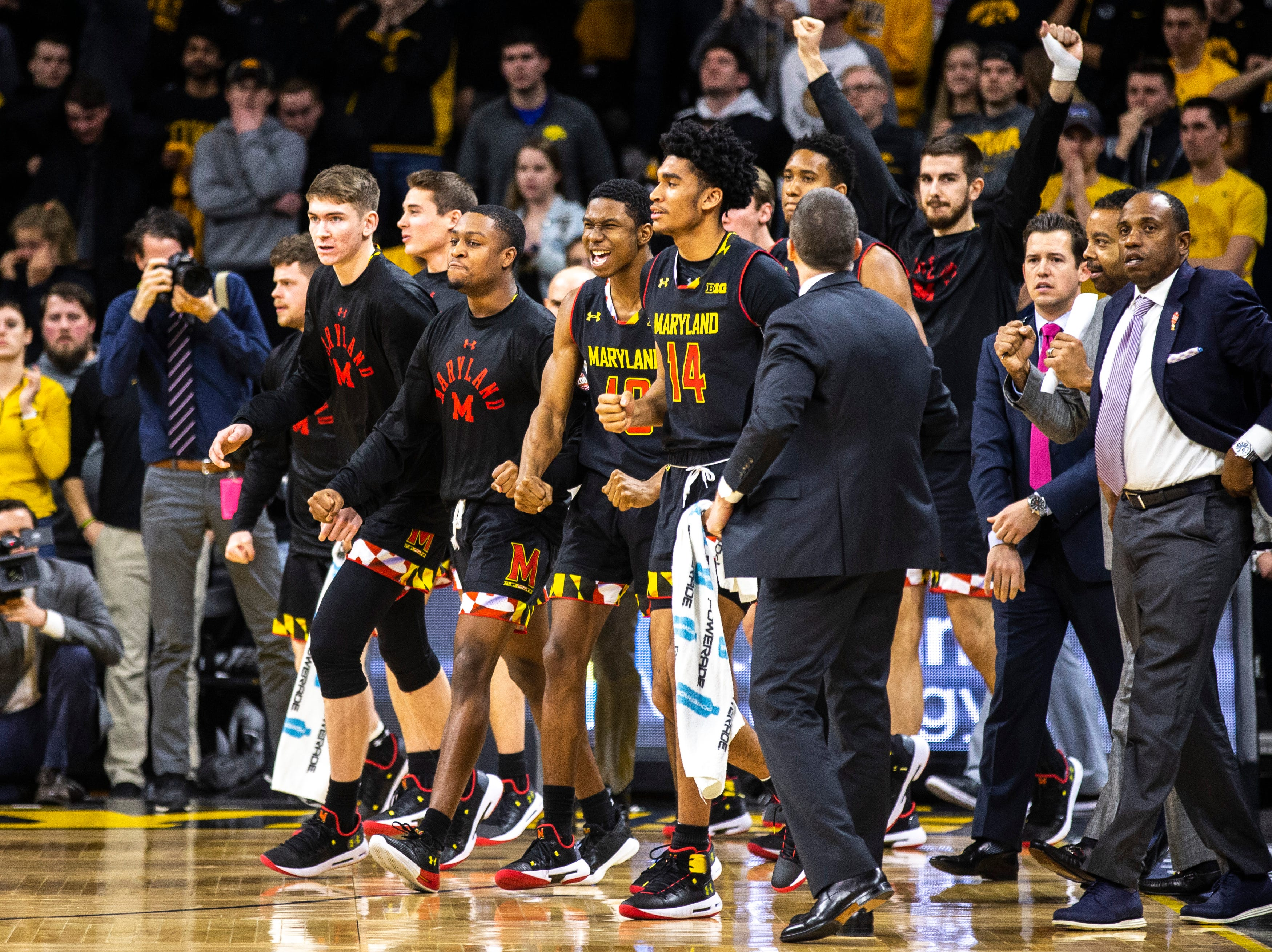 Maryland Terrapins bench reacts heading into a timeout during a NCAA Big Ten Conference men's basketball game on Tuesday, Feb. 19, 2019 at Carver-Hawkeye Arena in Iowa City, Iowa.