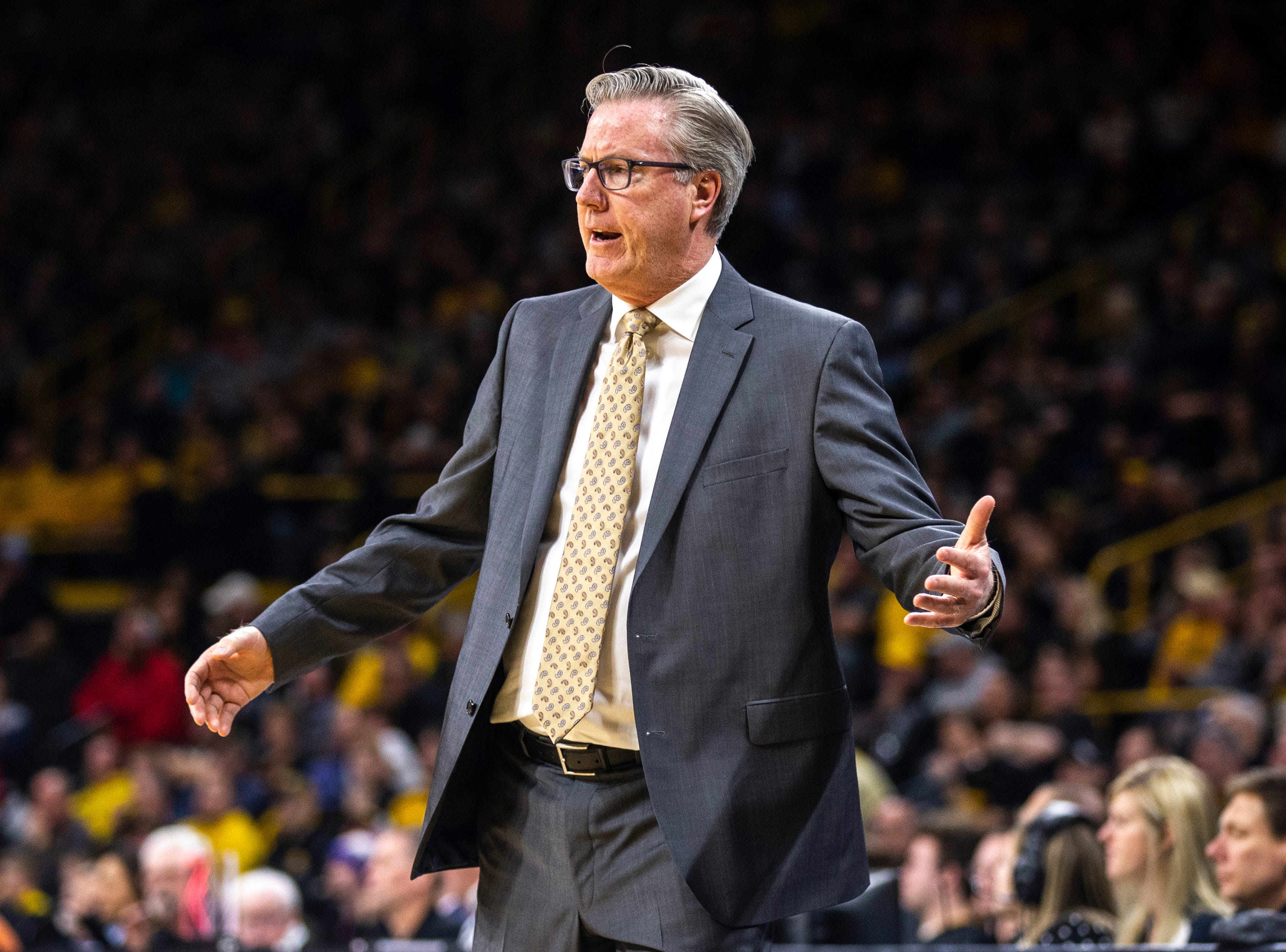 Iowa men's basketball head coach Fran McCaffery reacts during a NCAA Big Ten Conference men's basketball game on Tuesday, Feb. 19, 2019 at Carver-Hawkeye Arena in Iowa City, Iowa.