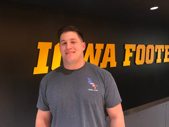 Former Iowa offensive lineman James Ferentz is training and living in Iowa City after winning his second Super Bowl ring. He's under contract for another year with the New England Patriots.