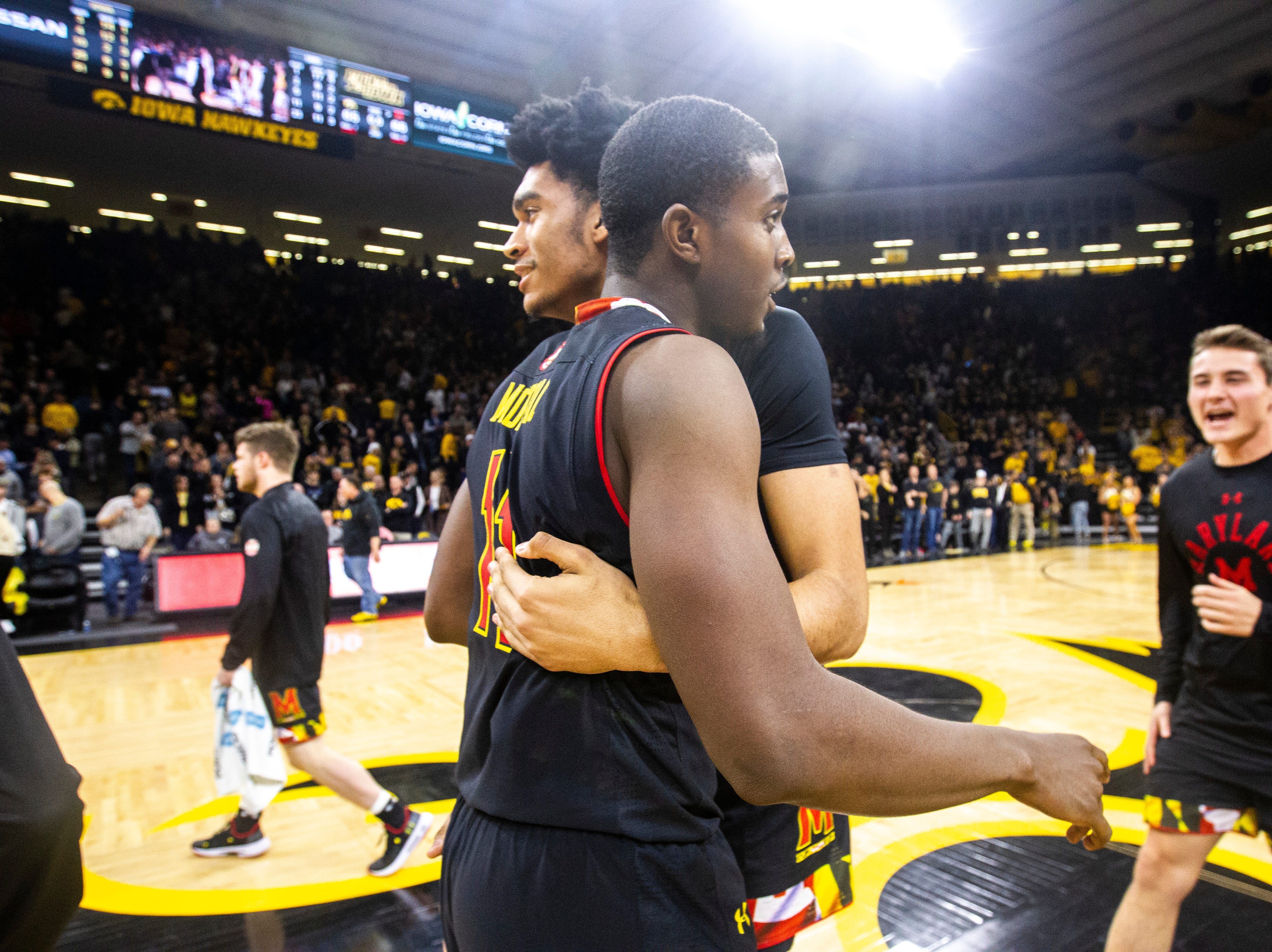 Maryland guard Darryl Morsell (11) gets a hug from Maryland forward Ricky Lindo Jr. after a NCAA Big Ten Conference men's basketball game against the Iowa Hawkeyes on Tuesday, Feb. 19, 2019 at Carver-Hawkeye Arena in Iowa City, Iowa.