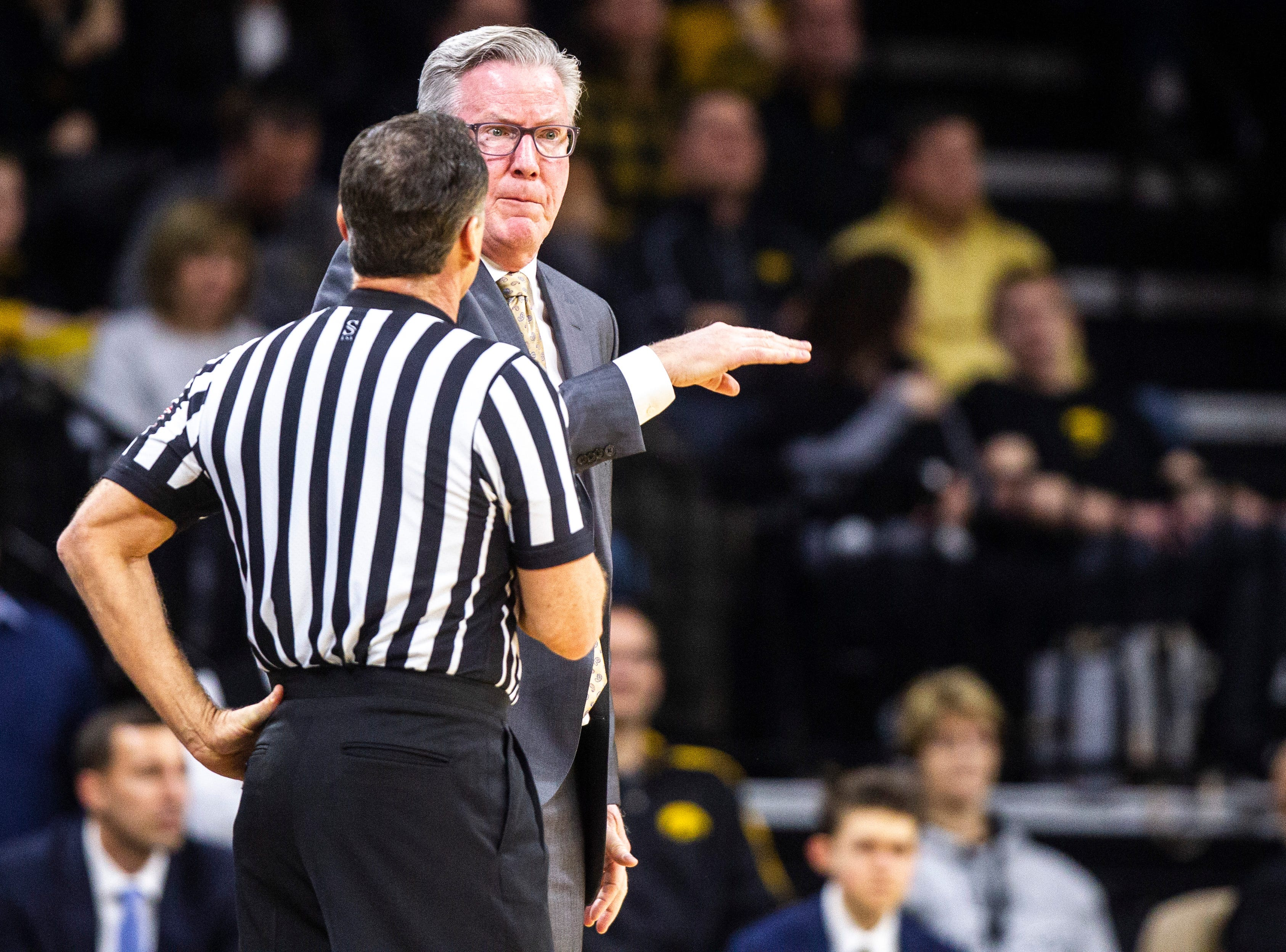Iowa men's basketball head coach Fran McCaffery reacts to a call during a NCAA Big Ten Conference men's basketball game on Tuesday, Feb. 19, 2019 at Carver-Hawkeye Arena in Iowa City, Iowa.