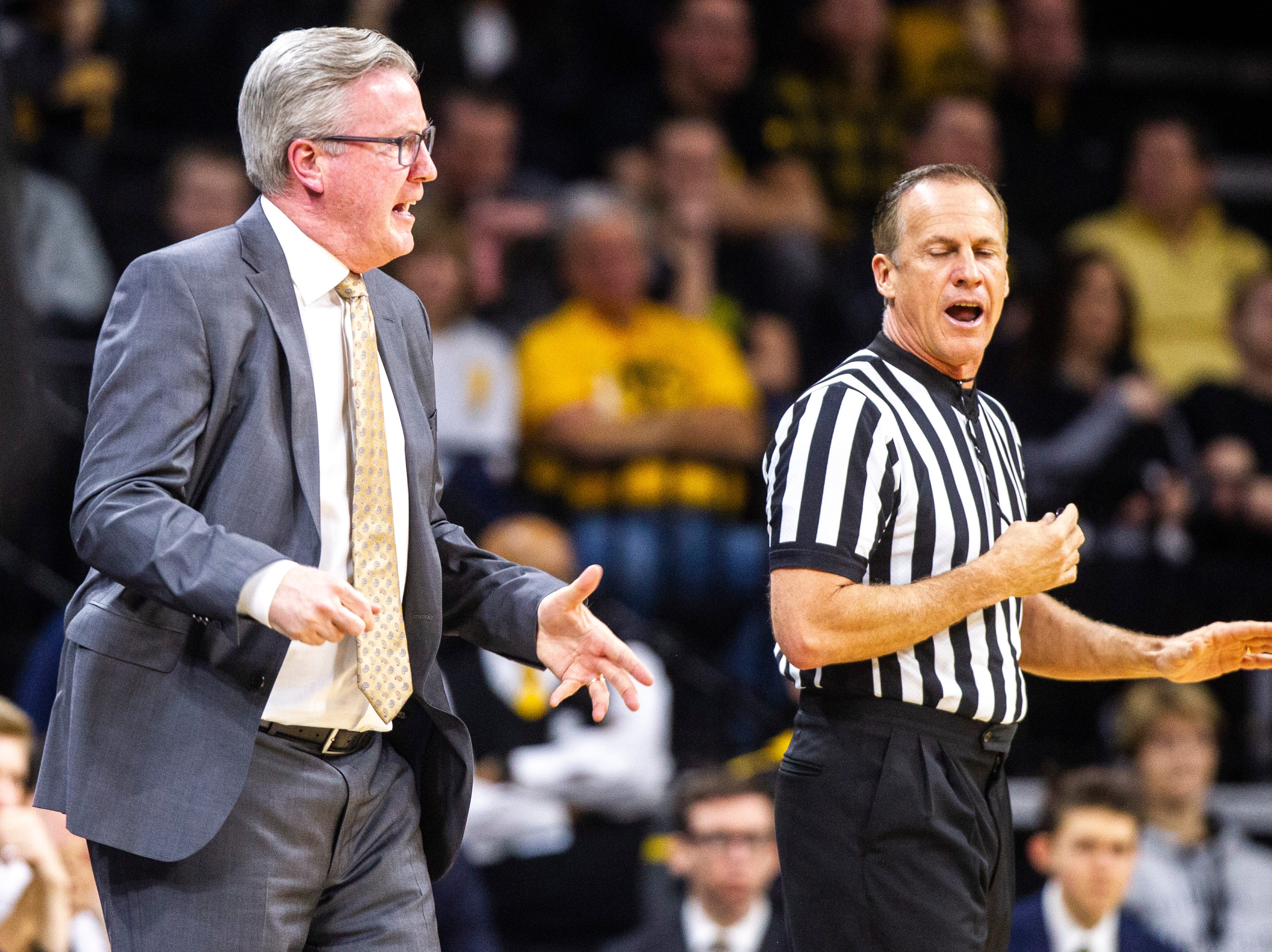 Iowa men's basketball head coach Fran McCaffery reacts to Iowa guard Jordan Bohannon (not pictured) getting called for a foul during a NCAA Big Ten Conference men's basketball game on Tuesday, Feb. 19, 2019 at Carver-Hawkeye Arena in Iowa City, Iowa.