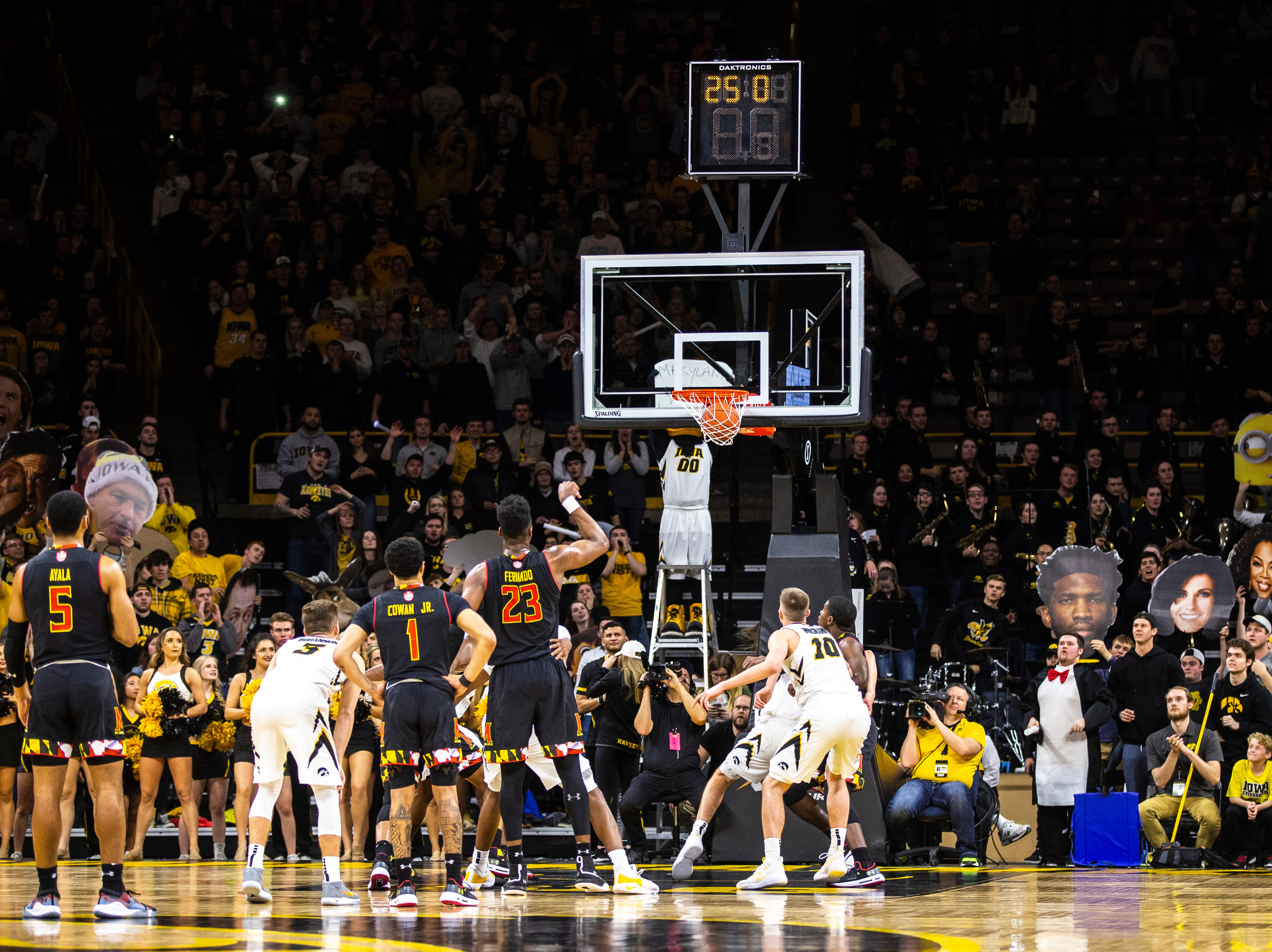 Maryland forward Bruno Fernando (23) makes a free throw with 25 seconds remaining during a NCAA Big Ten Conference men's basketball game on Tuesday, Feb. 19, 2019 at Carver-Hawkeye Arena in Iowa City, Iowa.