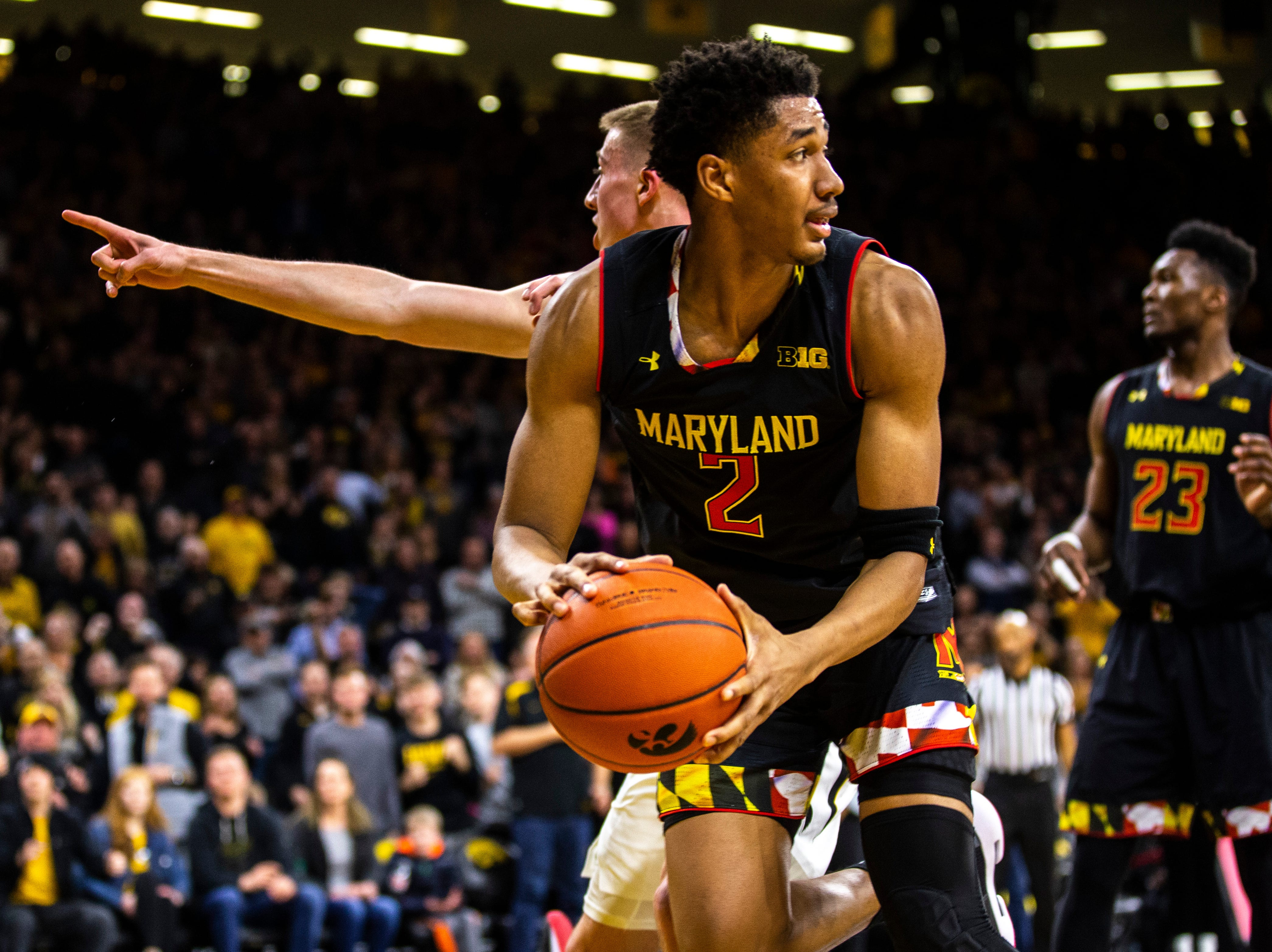 Maryland guard Aaron Wiggins (2) grabs a rebound off of a missed 3-point attempt during a NCAA Big Ten Conference men's basketball game on Tuesday, Feb. 19, 2019 at Carver-Hawkeye Arena in Iowa City, Iowa.