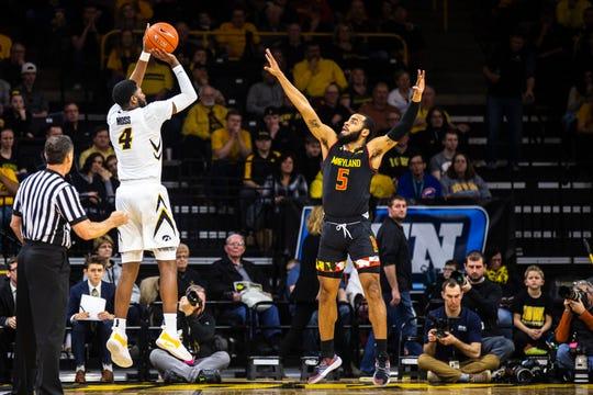 Iowa guard Isaiah Moss shot 42% from 3-point range last season.