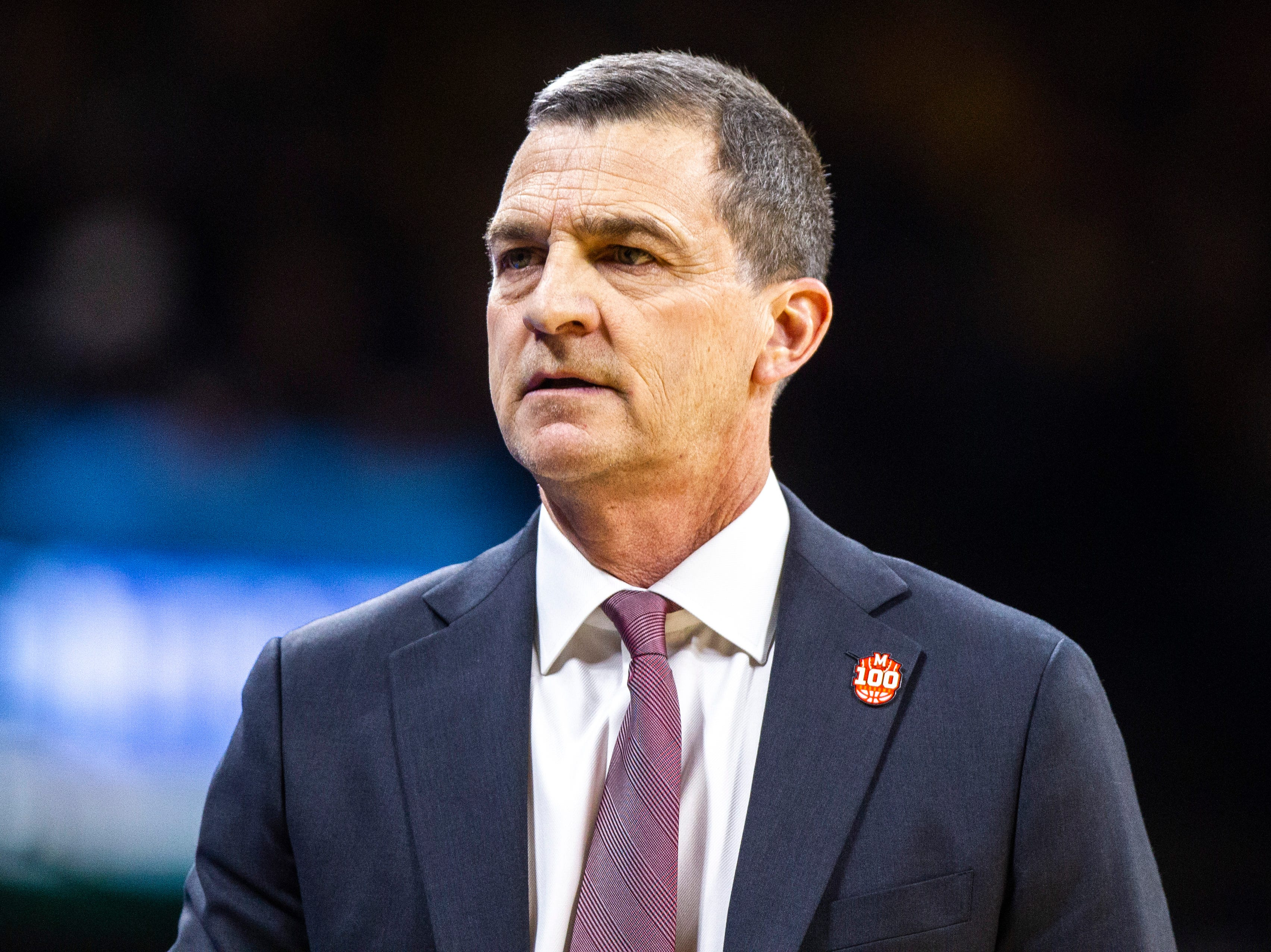 Maryland head coach Mark Turgeon walks the baseline during a NCAA Big Ten Conference men's basketball game on Tuesday, Feb. 19, 2019 at Carver-Hawkeye Arena in Iowa City, Iowa.