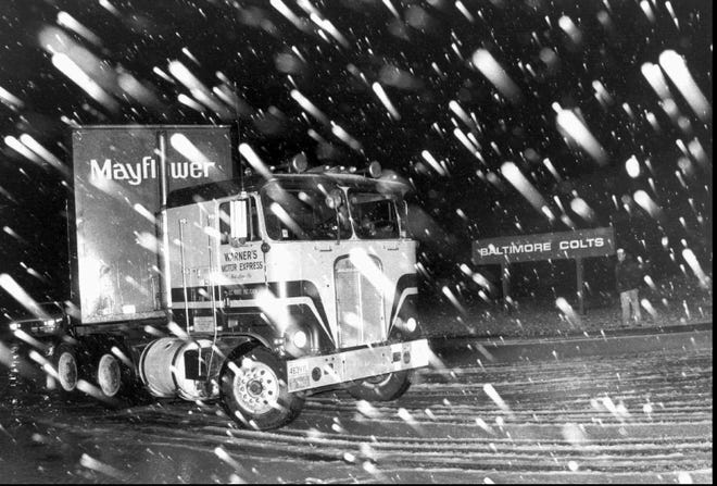 A Mayflower moving van carrying the Baltimore Colts' equipment left Baltimore for Indianapolis in the middle of the night on March 19, 1984.