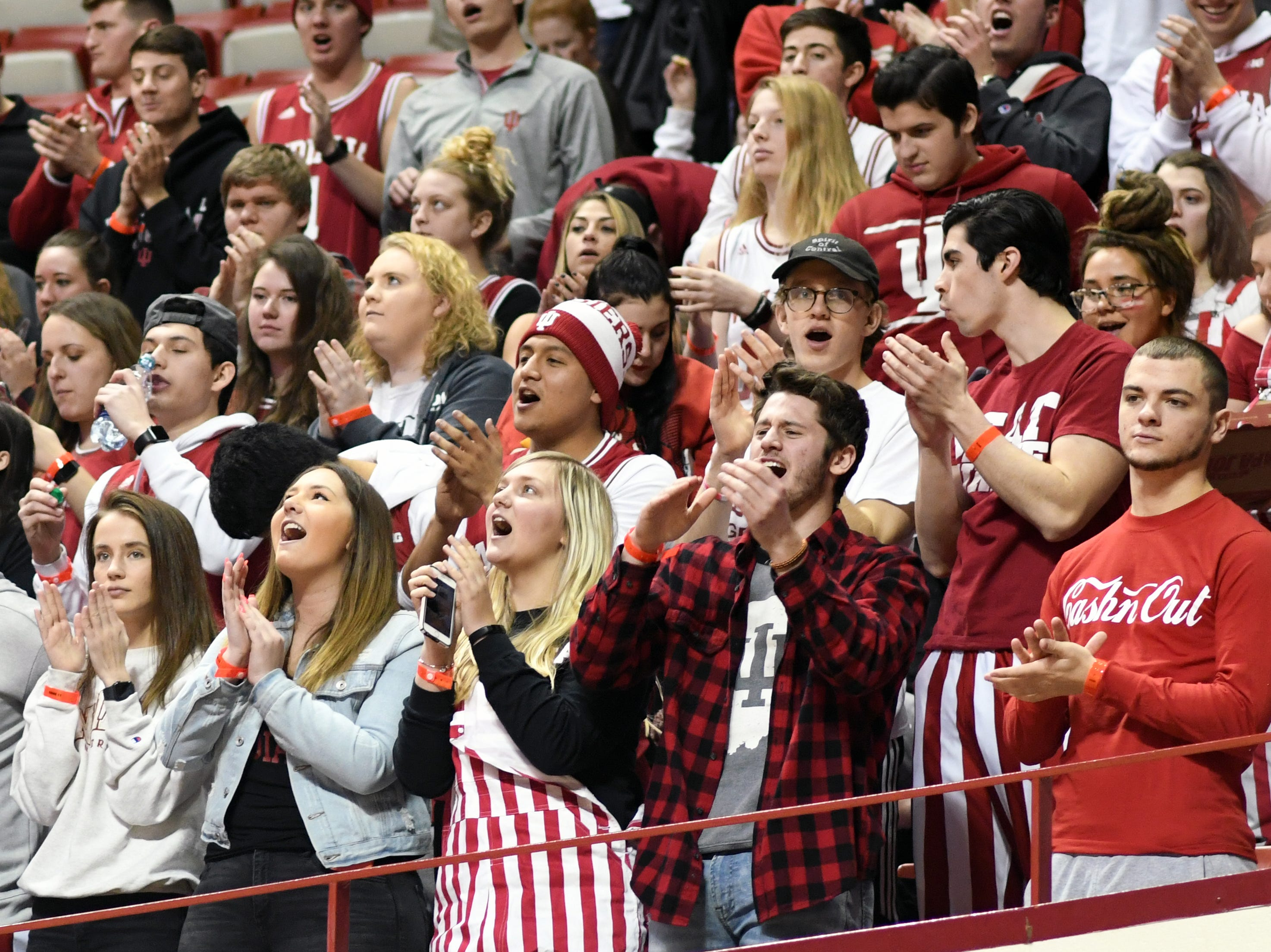 The Indiana student section cheers as IU takes the court for warm-ups prior to the start of the Indiana-Purdue game at Simon Skjodt Assembly Hall in Bloomington, Ind., on Tuesday, Feb. 19, 2019.