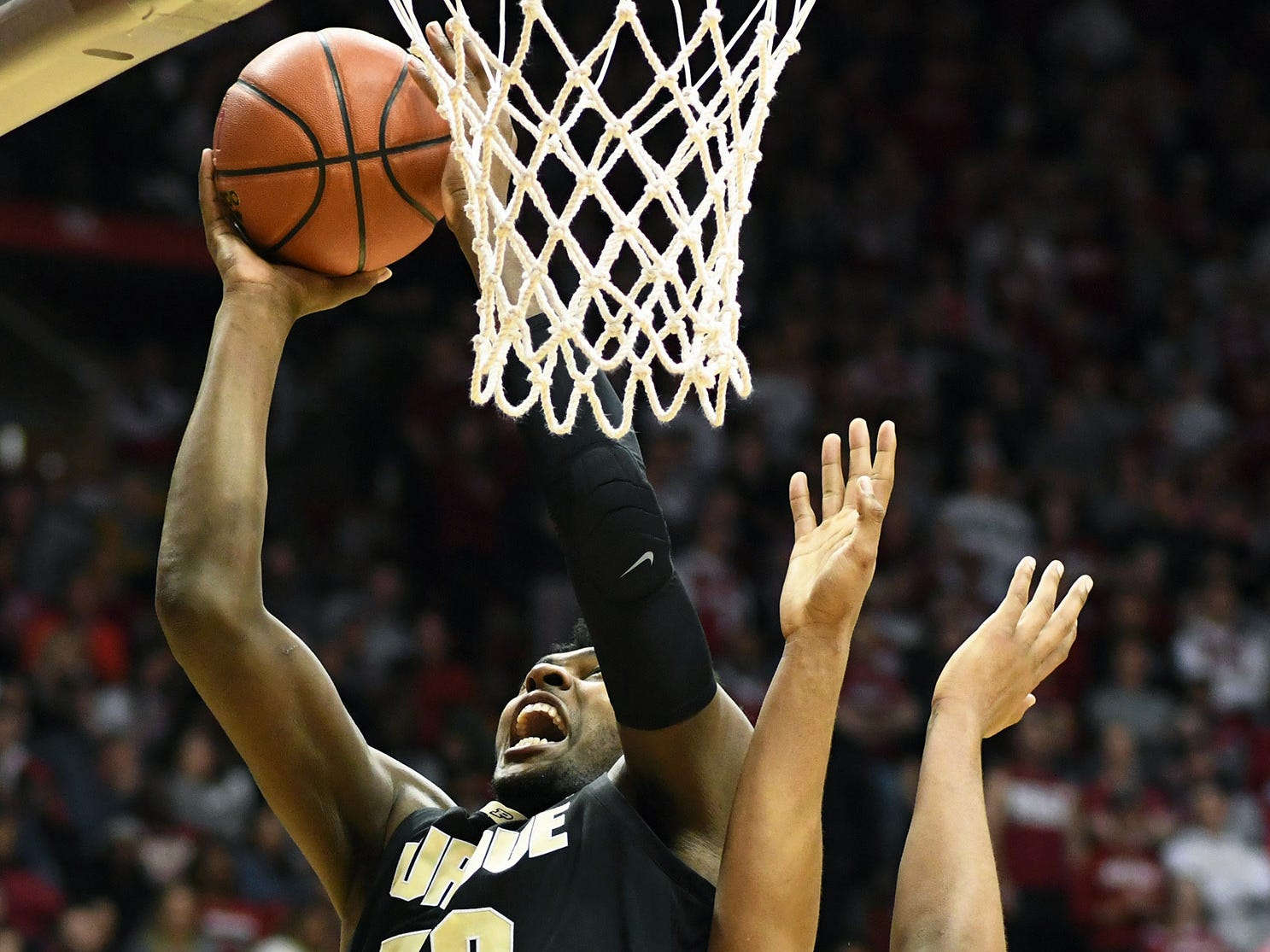 Purdue Boilermakers forward Trevion Williams (50) makes a layup during the game against Indiana at Simon Skjodt Assembly Hall in Bloomington, Ind., on Tuesday, Feb. 19, 2019.