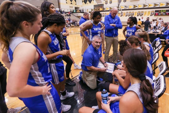 Hamilton SE Coach Chris Huppenthal gives instructions to his team as the 4th quarter is about to begin against Avon, Dec. 7, 2018.