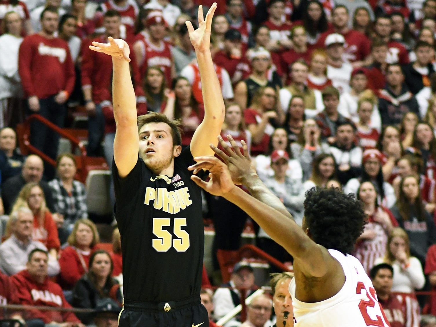 Purdue Boilermakers guard Sasha Stefanovic (55) shoots the ball during the game against Indiana at Simon Skjodt Assembly Hall in Bloomington, Ind., on Tuesday, Feb. 19, 2019.