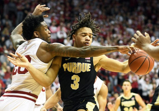 Indiana Hoosiers forward De'Ron Davis (20) knocks the ball away from Purdue Boilermakers guard Carsen Edwards (3)during the Indiana-Purdue game at Simon Skjodt Assembly Hall in Bloomington, Ind., on Tuesday, Feb. 19, 2019.