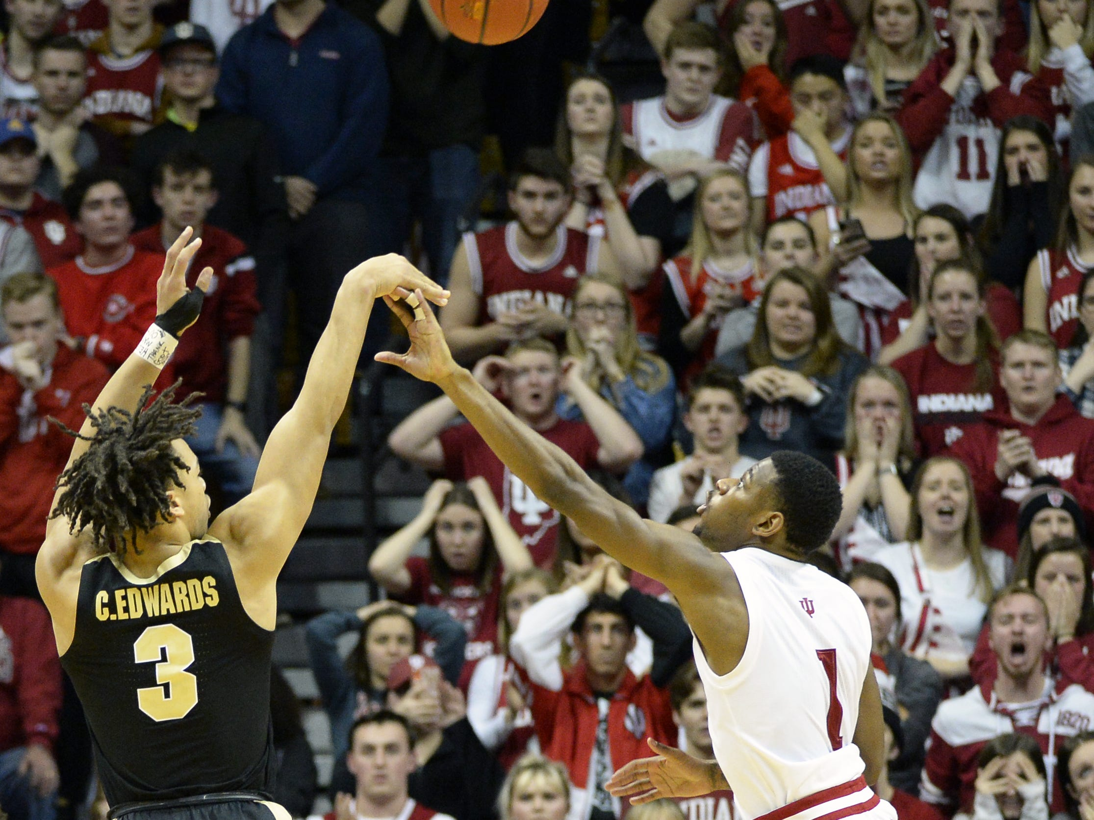 Purdue Boilermakers guard Carsen Edwards (3) attempts a shot during the Indiana-Purdue game at Simon Skjodt Assembly Hall in Bloomington, Ind., on Tuesday, Feb. 19, 2019.