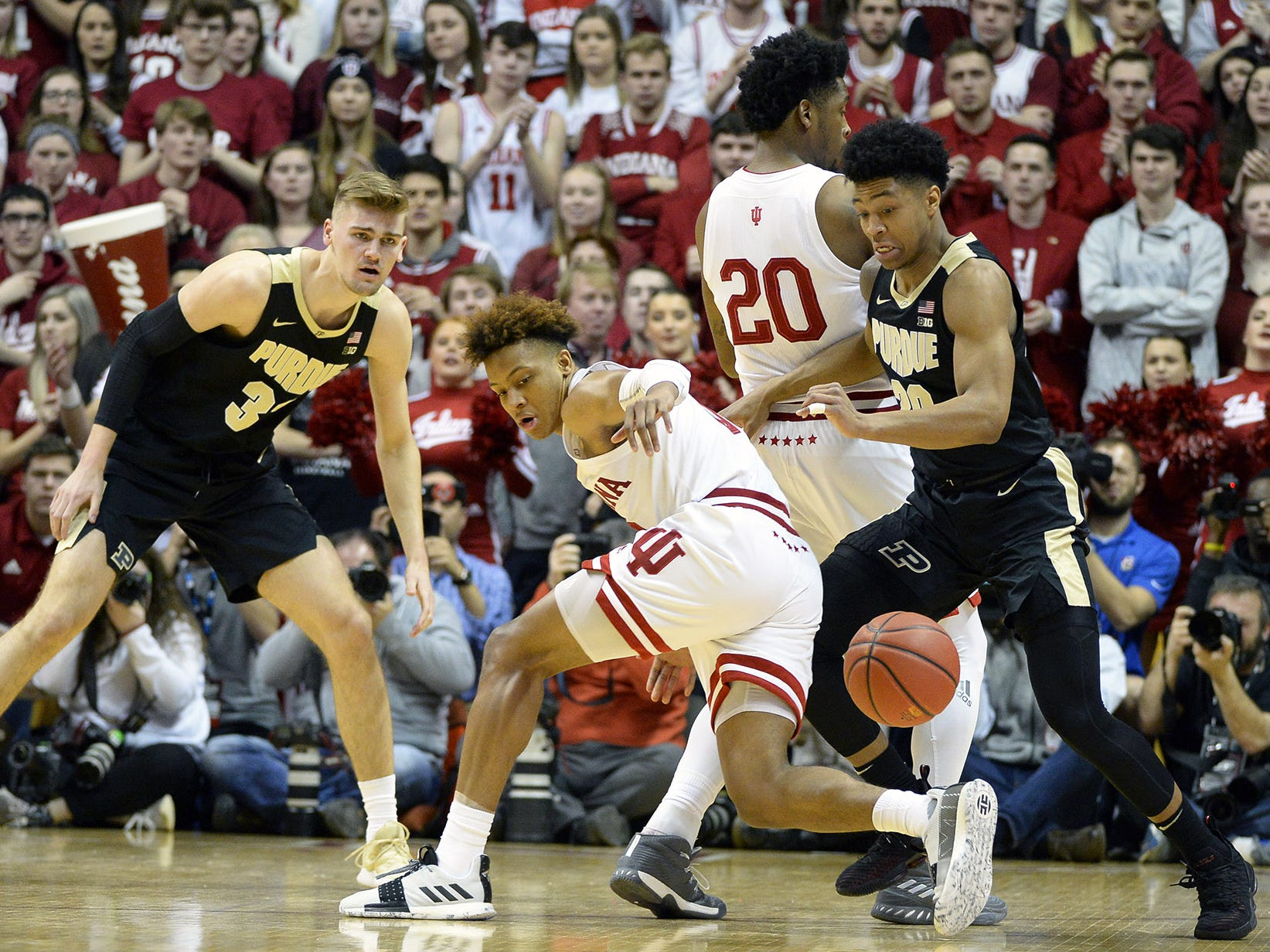 Indiana Hoosiers guard Romeo Langford (0) loses the ball during the game against Purdue at Simon Skjodt Assembly Hall in Bloomington, Ind., on Tuesday, Feb. 19, 2019.