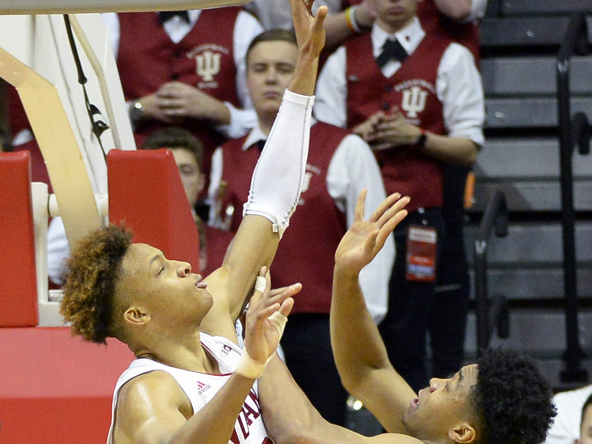 Indiana Hoosiers guard Romeo Langford (0) blocks a shot during the Indiana-Purdue game at Simon Skjodt Assembly Hall in Bloomington, Ind., on Tuesday, Feb. 19, 2019.