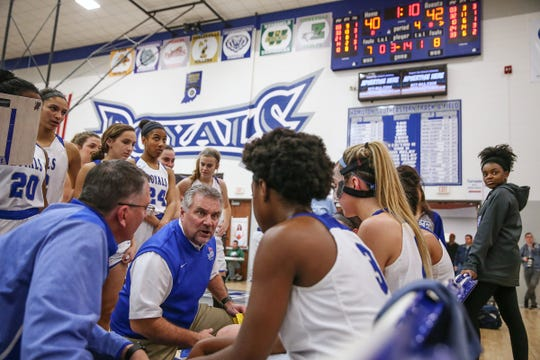 Hamilton Southeastern coach Chris Huppenthal talks to the team late in second half action against Zionsville, at HSE in Fishers, Ind.